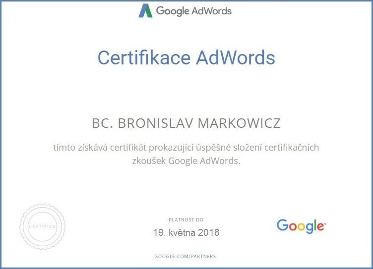Bronislav Markowicz - Certifikace - Google Adwords (vyhledávací síť)